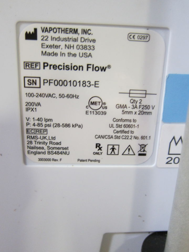 VAPOTHERM Precision Flow  - Lot of 2 Humidifier
