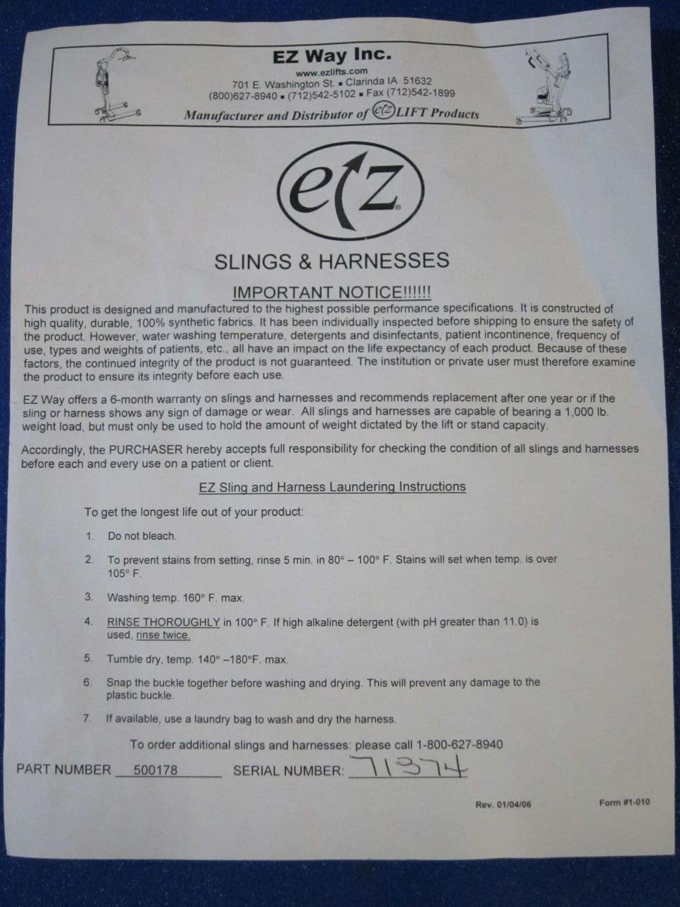 EZ WAY 500178 Sling/Harness