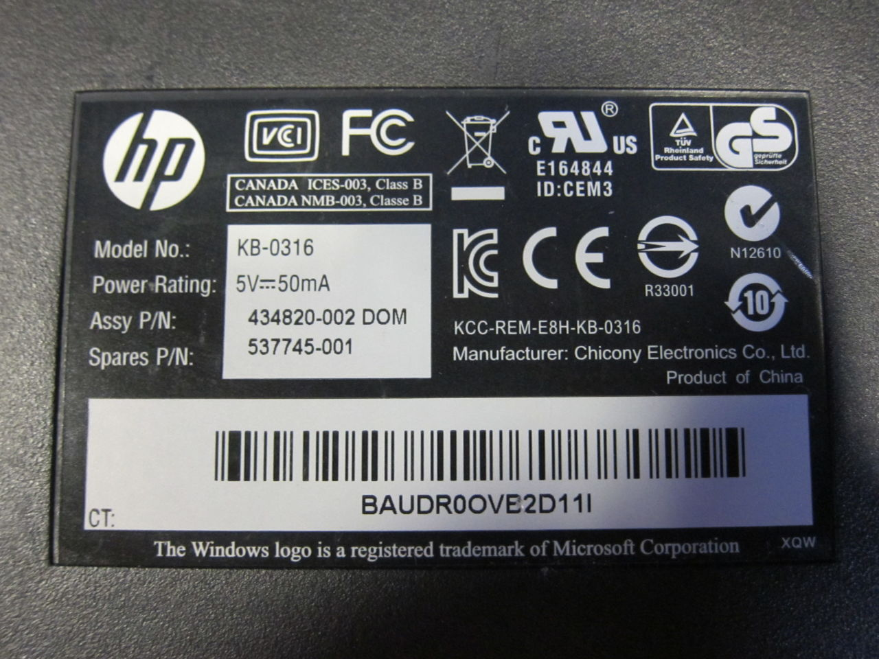 HP KB-0316 Keyboards - Lot of 2