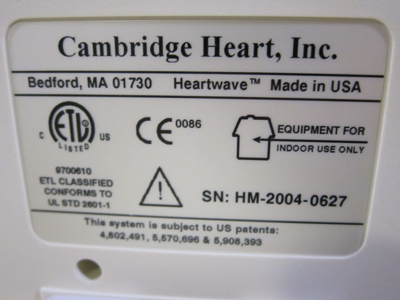 CAMBRIDGE HEART HeartWave Stress Test