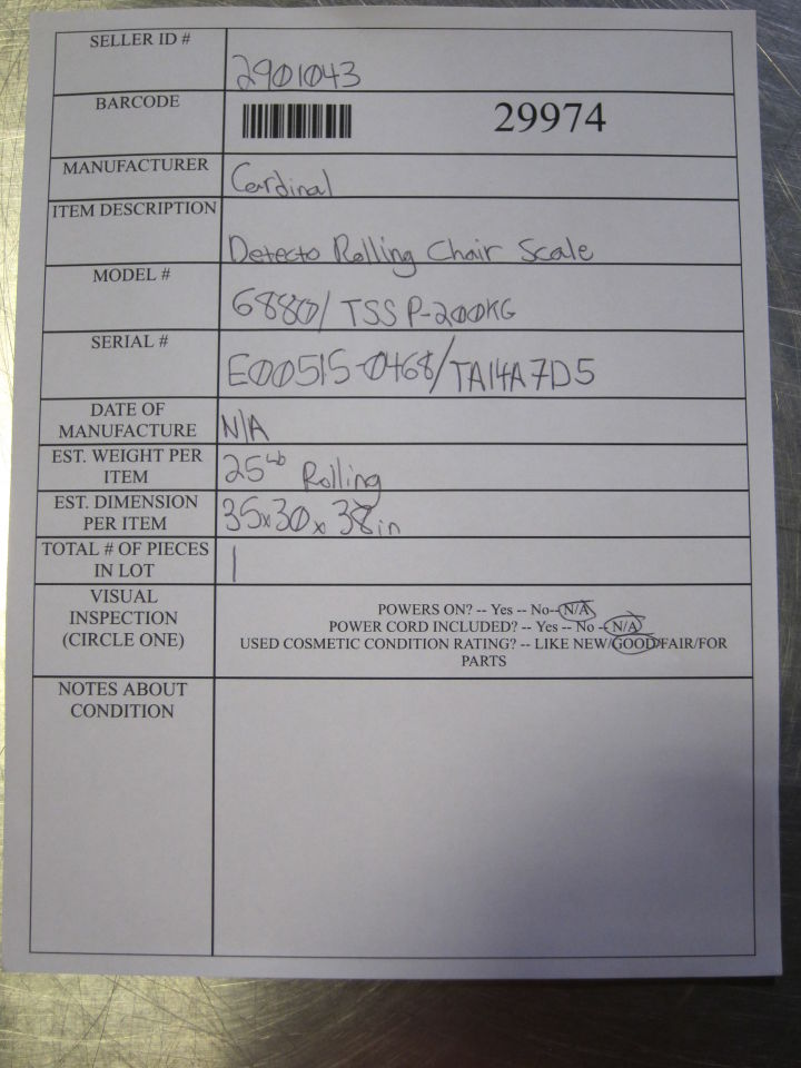 CARDINAL DETECTO 6880 / TSSP-200KG Scale