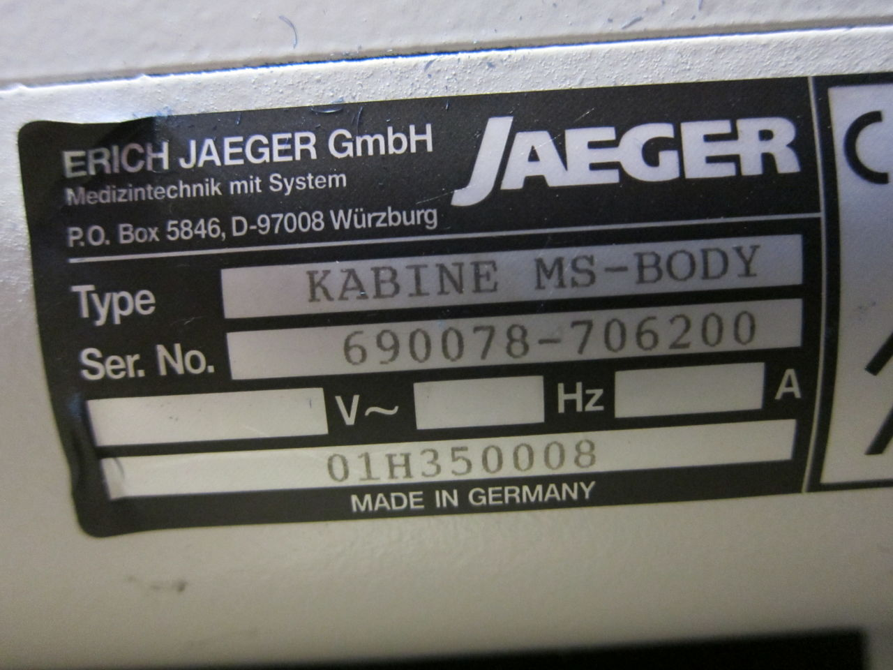 JAEGER MasterScreen Body Cabinet Plethysmograph