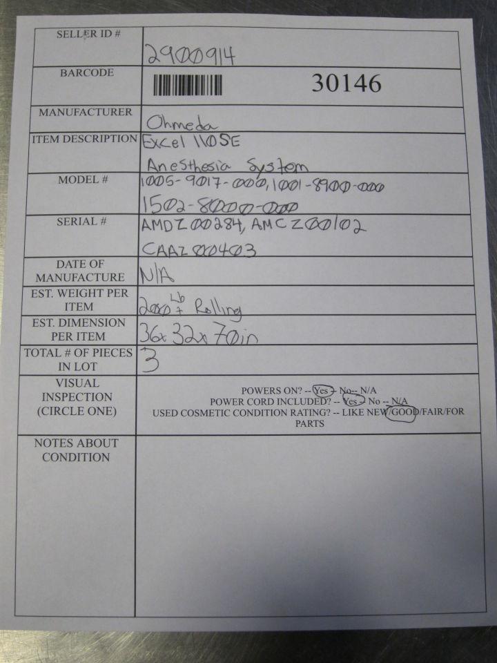 OHMEDA Excel 110 SE Anesthesia Machine