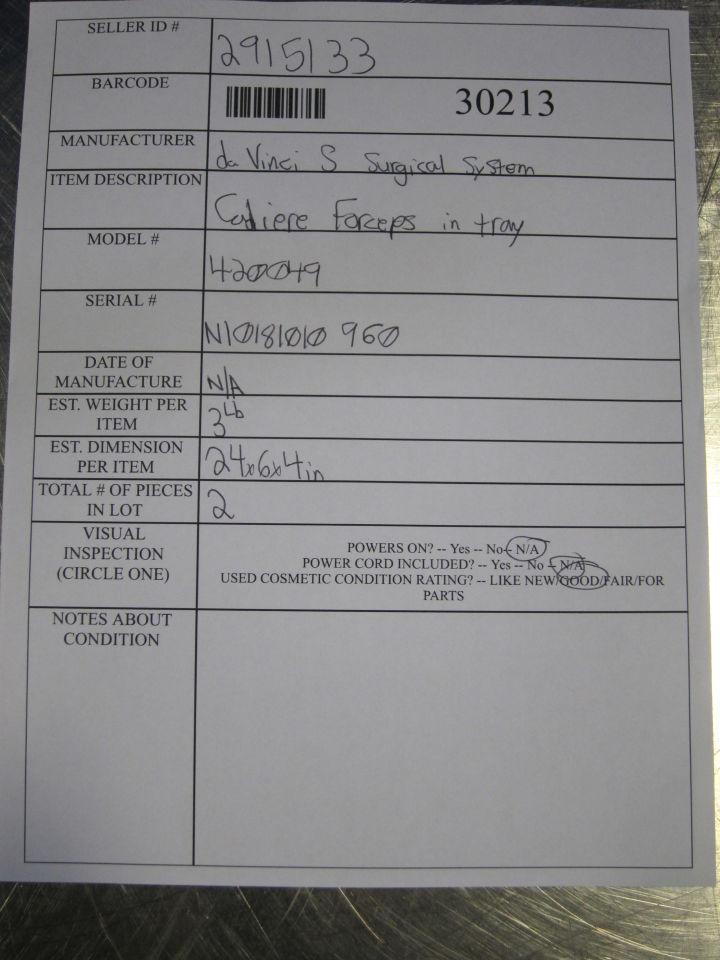 DA VINCI S SURGICAL 420049 Cadiere Forceps