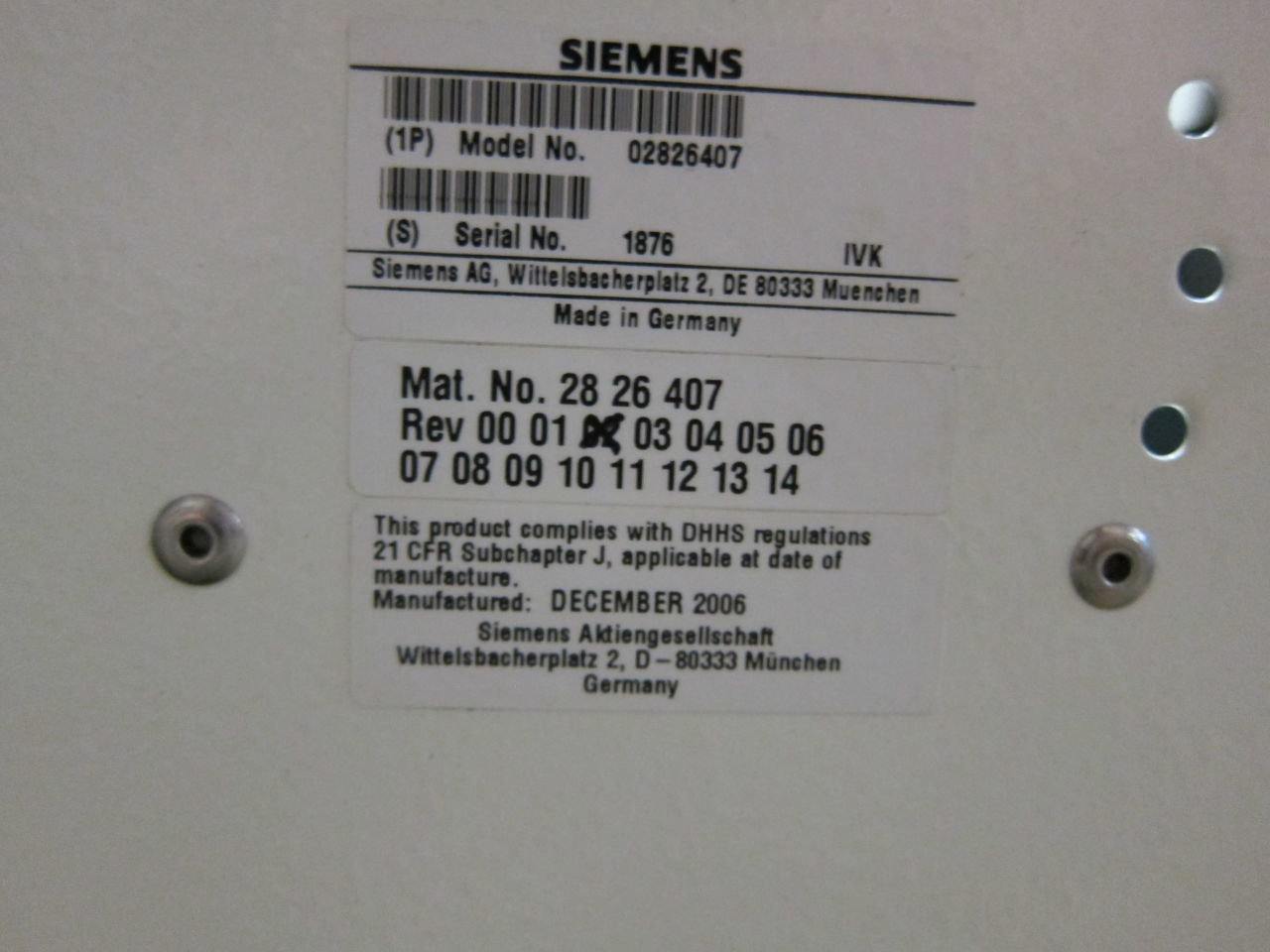 SIEMENS Axiom Sireskop SD S3,  Polydoros SX65  Digital Pediatric Rad/Fluoro Room