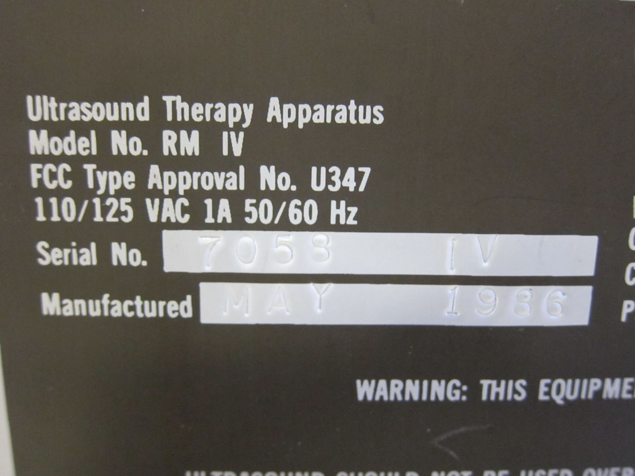 RICH-MAR CORPORATION RM IV Ultrasound Therapy Unit