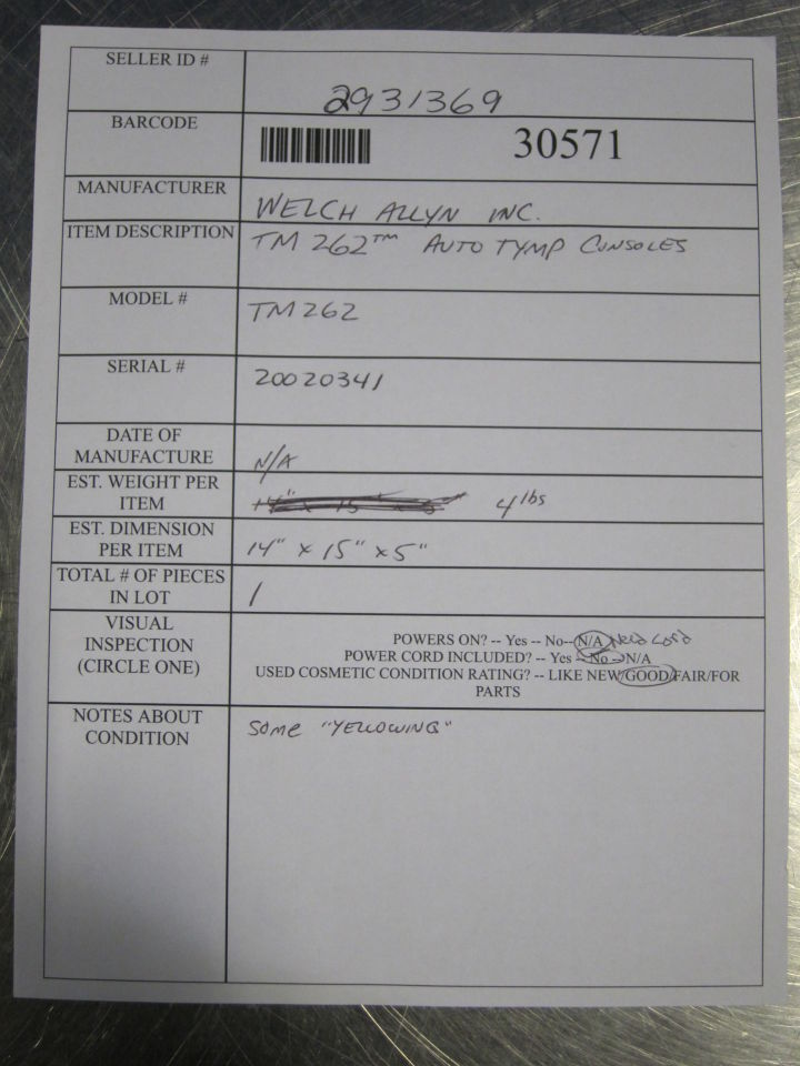WELCH ALLYN AutoTymp TM 262 Tympanometer