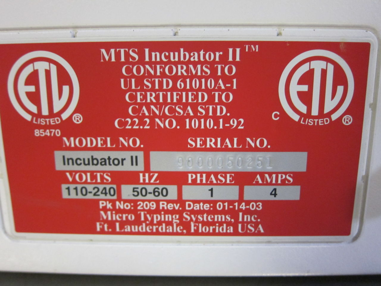 MTS Incubator II Incubator