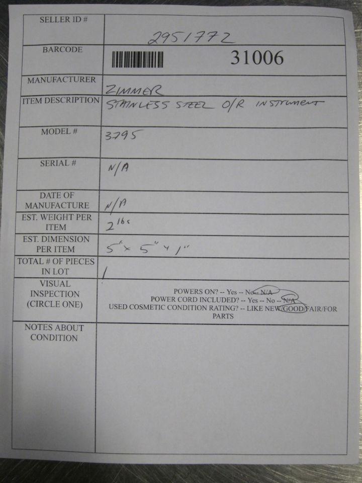 ZIMMER 3795 Instrument