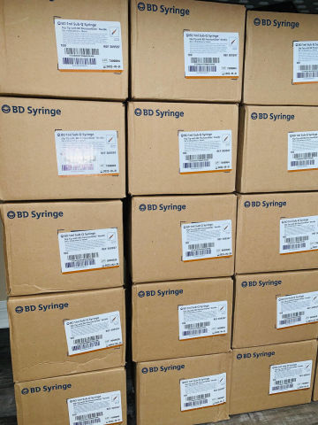 BECTON DICKINSON Lot of over 14000 New Syringes.  Luer Lok Tip Precision Glide Lock Caps.  Closeout Sale
