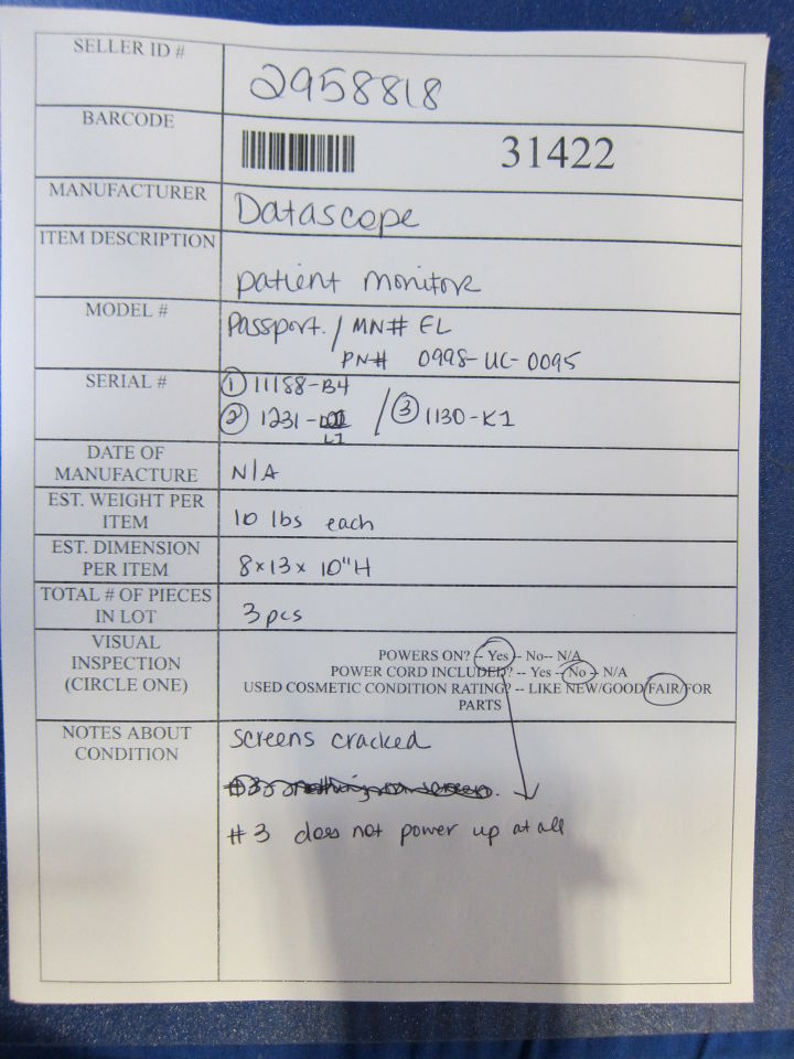 DATASCOPE Passport EL  - Lot of 3 Monitor