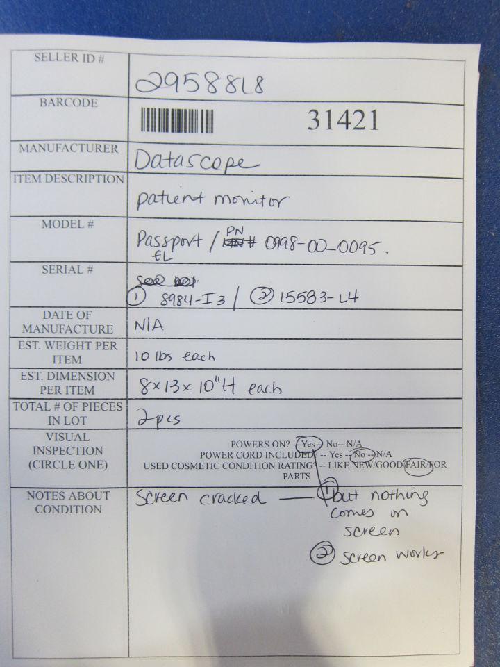 DATASCOPE Passport EL  - Lot of 2 Monitor