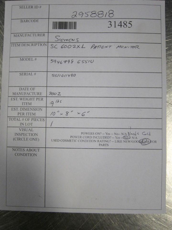 SIEMENS SC 6002XL Monitor