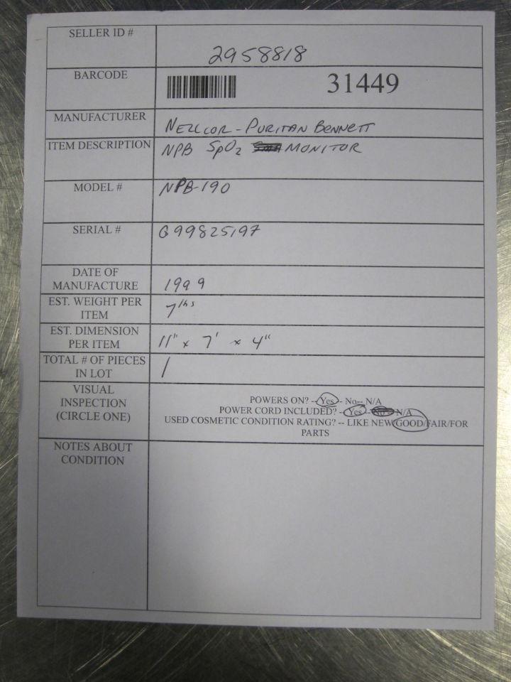 NELLCOR PURITAN BENNETT NPB-190 Oximeter - Pulse