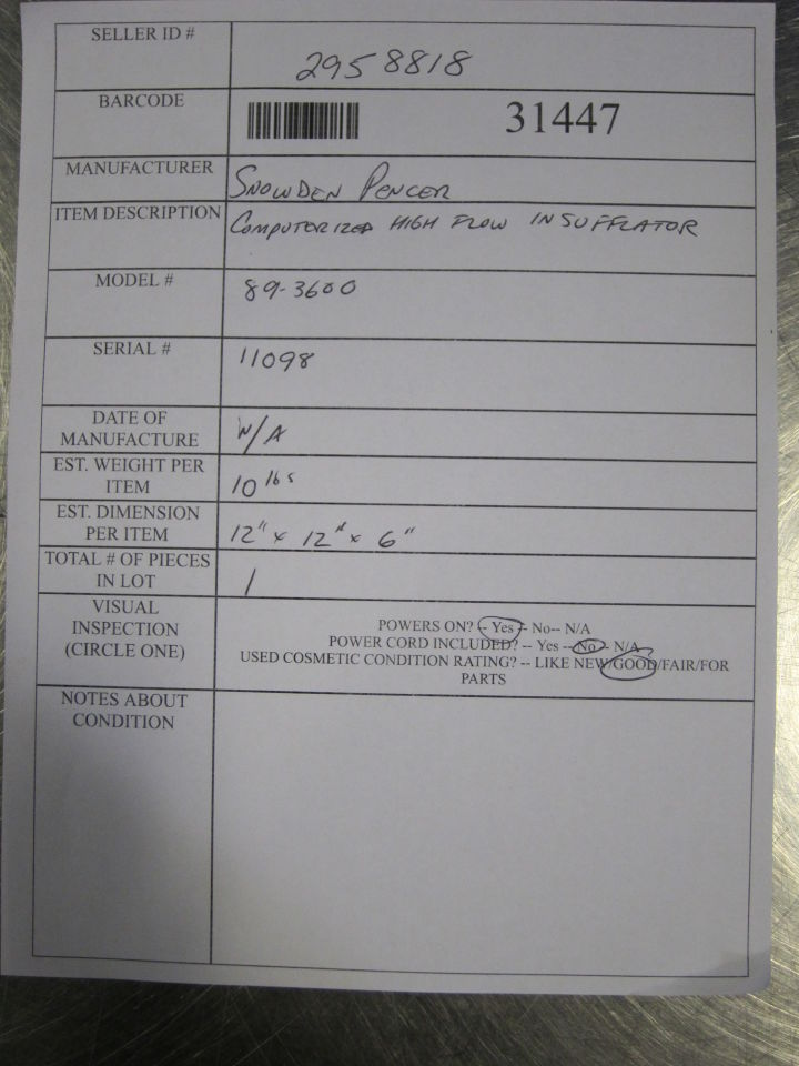 SNOWDEN PENCER 89-3600 Insufflator