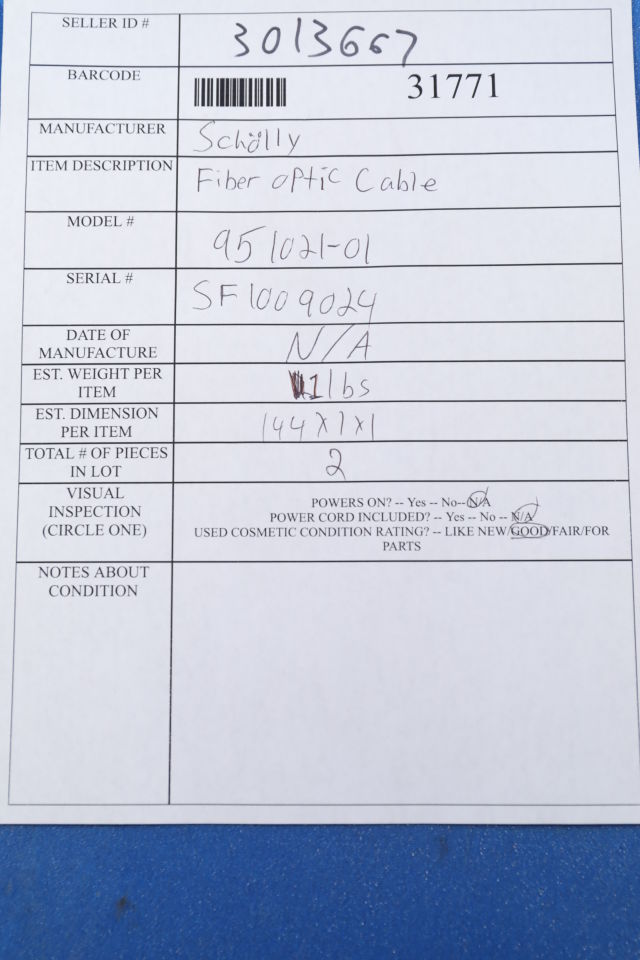 SCHOLLY 951021-01 Fiber Optic Cable