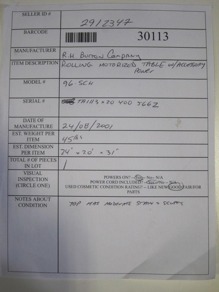 R.H BURTON 96-SCH Pharmacy/Med Cart