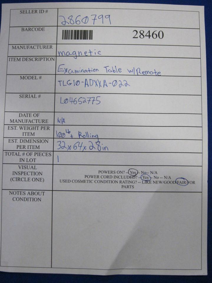 MAGNETIC TLG10-ADXXA-022 Exam Table
