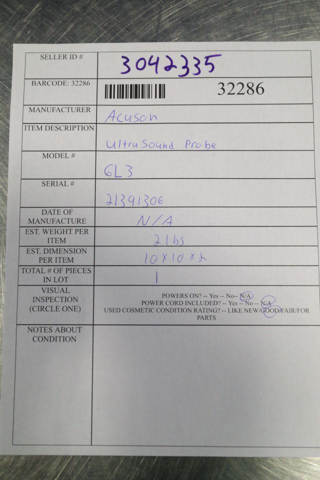 ACUSON 6L3 Ultrasound Transducer