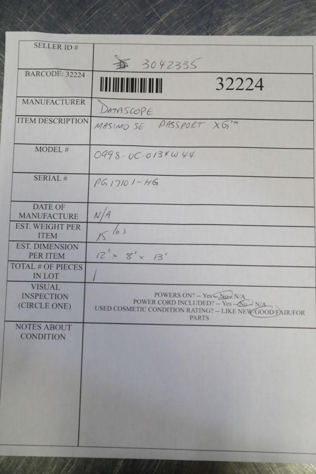 DATASCOPE Masimo SE Passport XG Monitor