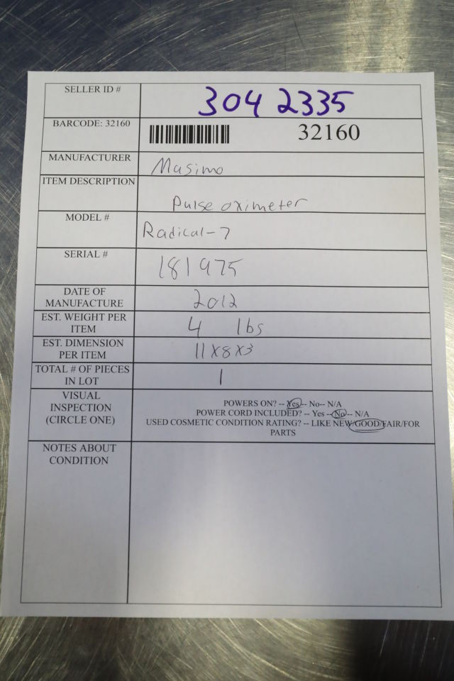 MASIMO Radical 7 Oximeter - Pulse