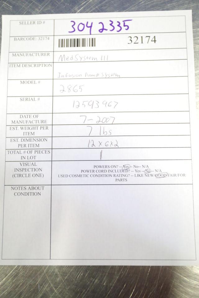 ALARIS MedSystem III 2865B Pump IV Infusion