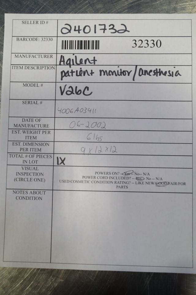 AGILENT V26C Anesthesia Monitor