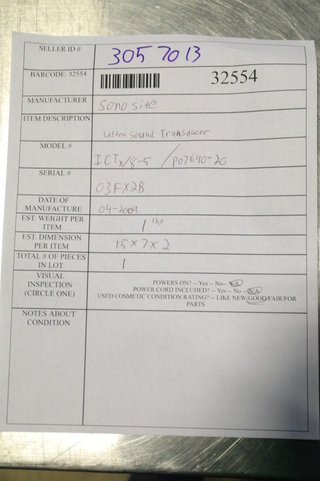 SONOSITE ICTX/8-5 Ultrasound Transducer