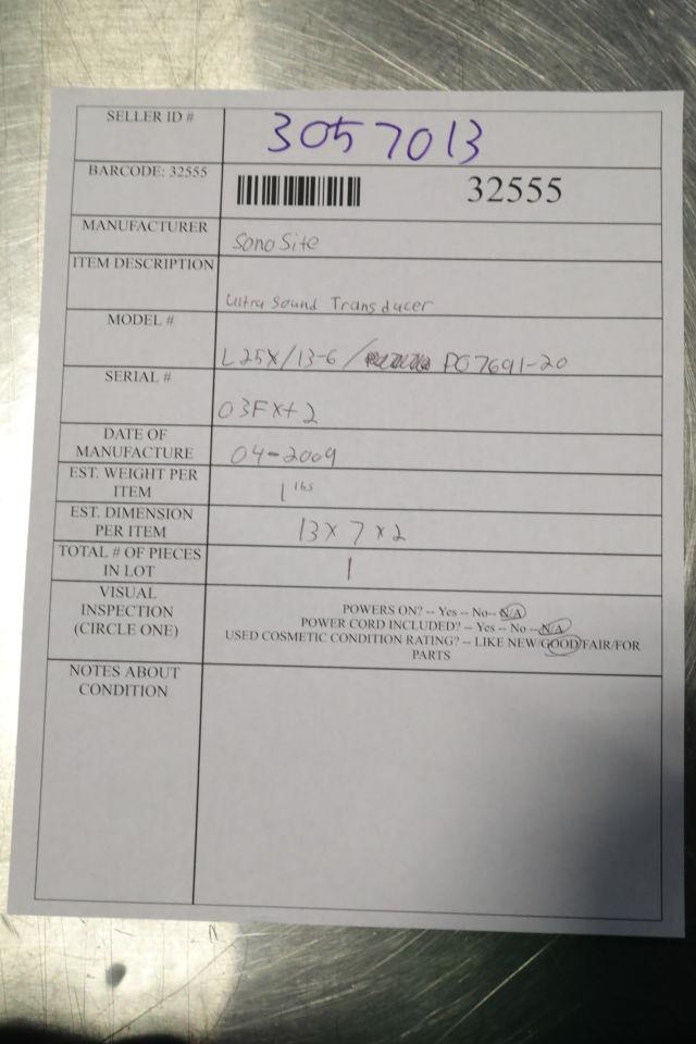 SONOSITE/MICROMAXX L25x/13-6 Ultrasound Transducer