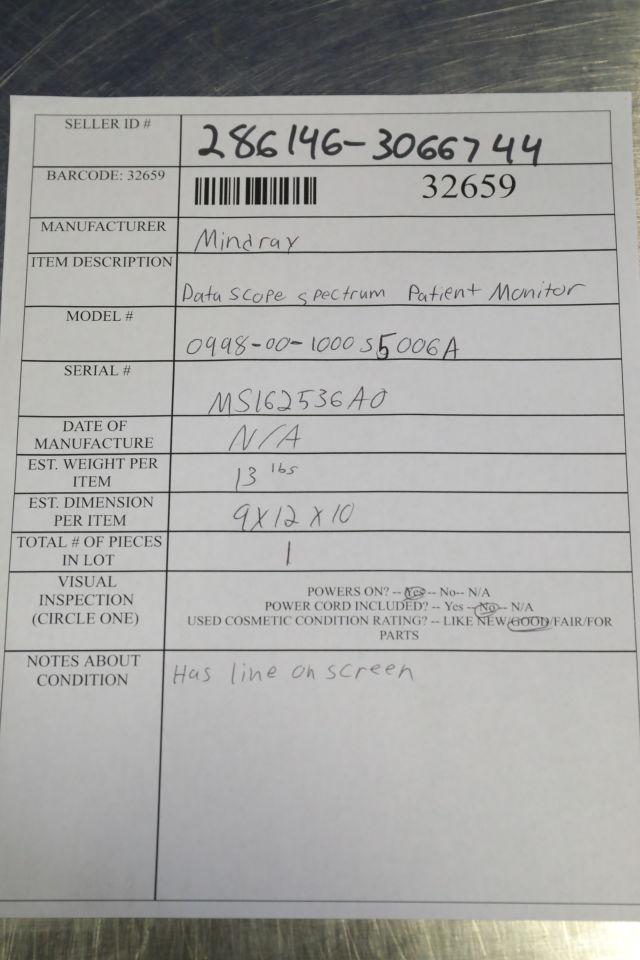 MINDRAY DATASCOPE Spectrum Monitor