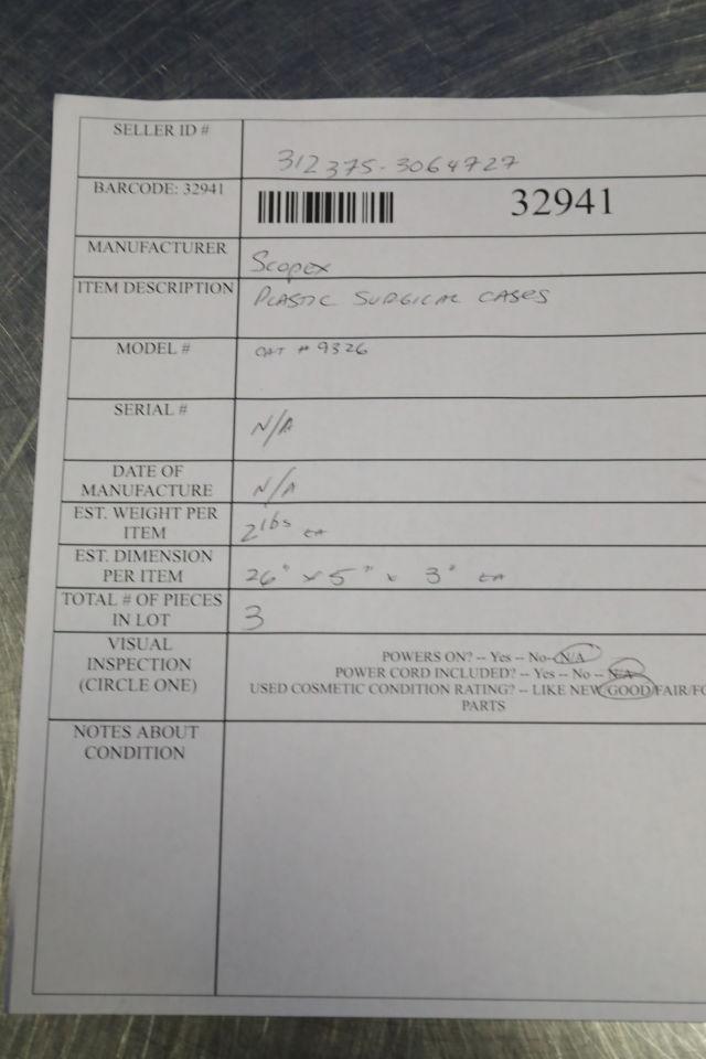 SCOPEX CAT# 9326  - Lot of 3 Surgical Cases
