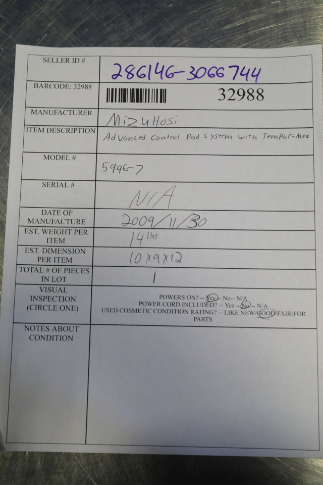 MIZUHO OSI 5996-7 Advanced Control Pad System