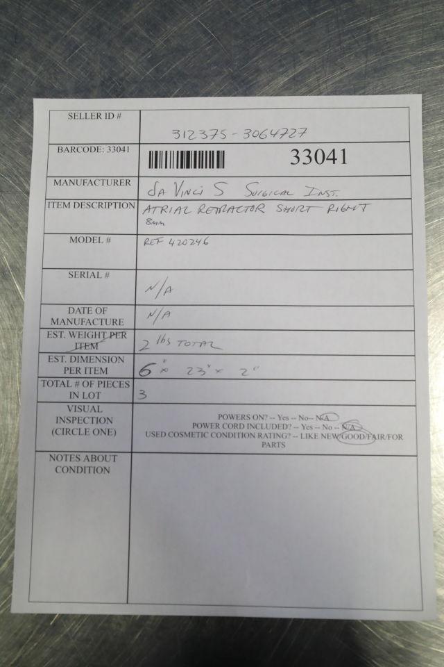 DA VINCI 420246 Atrial Retractor- Short Right - Lot of 3