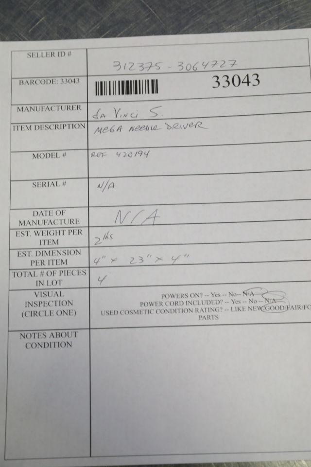 DA VINCI 420194 Mega Needle Driver - Lot of 4