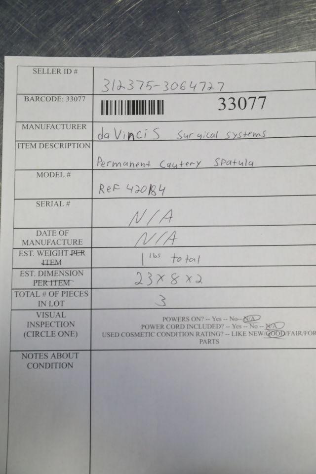 DA VINCI 420184 Permanent Cautery Spatula - Lot of 3