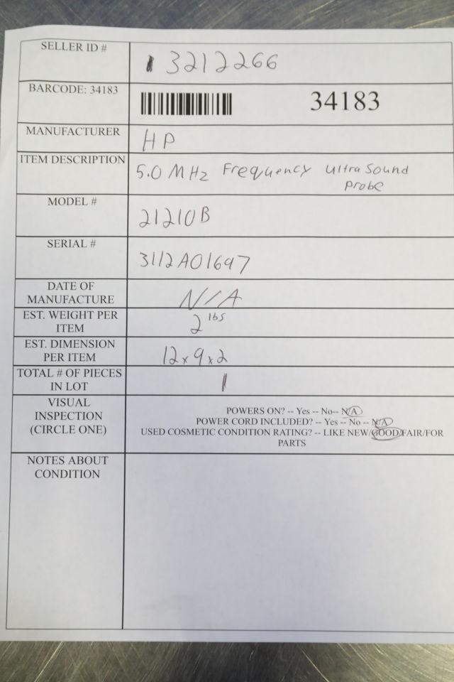 HP 21210B Ultrasound Transducer