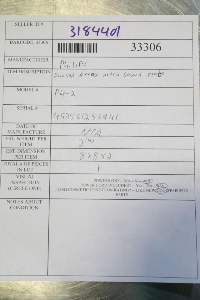 PHILIPS P4-2 Ultrasound Transducer