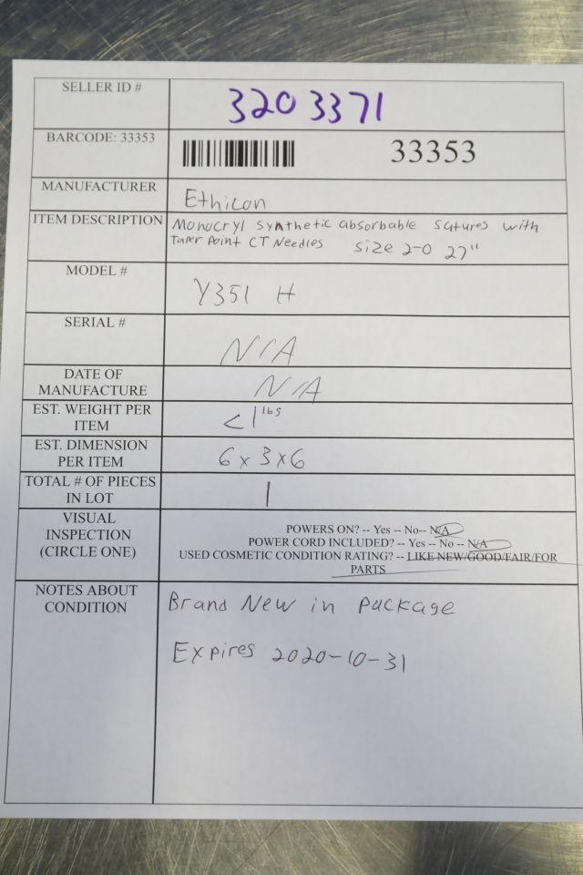 ETHICON Y351H Sutures