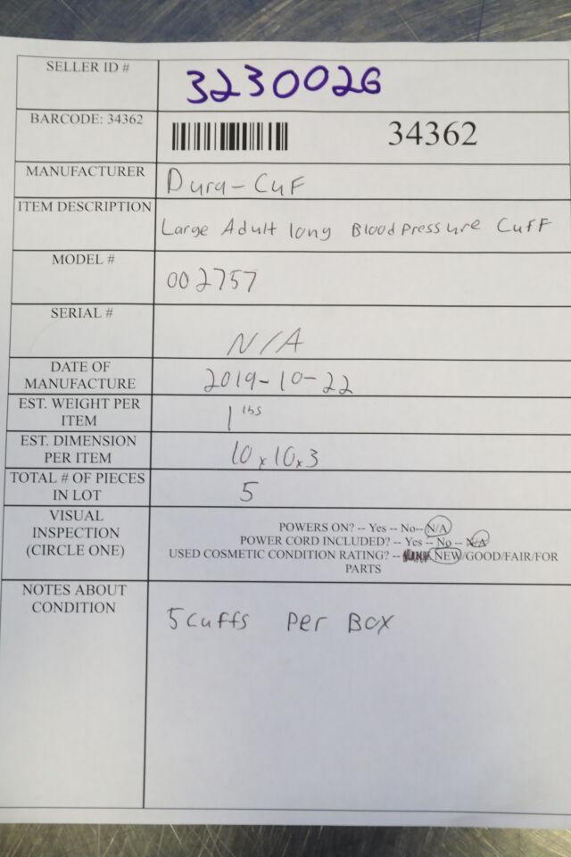 CRITIKON 002757 Dura-Cuf BP Cuff - Lot of 5