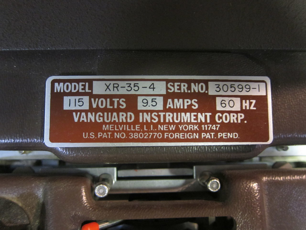 VANGUARD INSTRUMENT CORP. XR-35-4 Film Processor