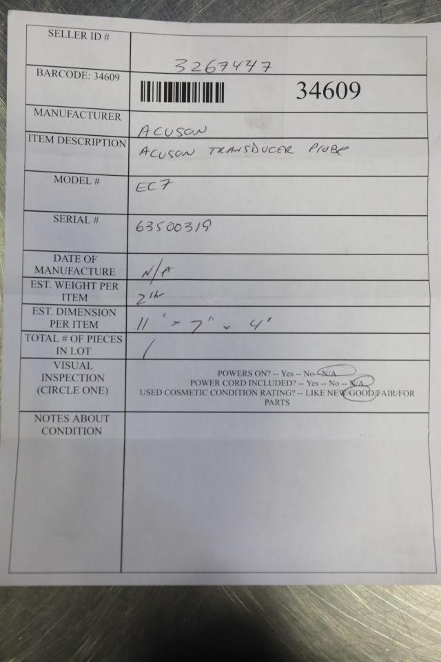 ACUSON EC7 Ultrasound Transducer
