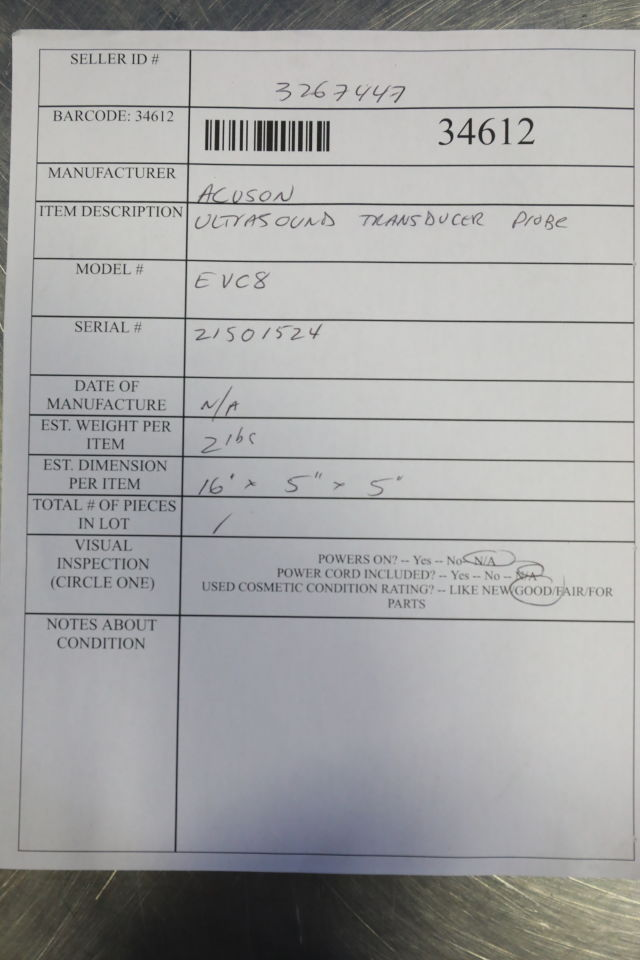 ACUSON EVC8 Ultrasound Transducer