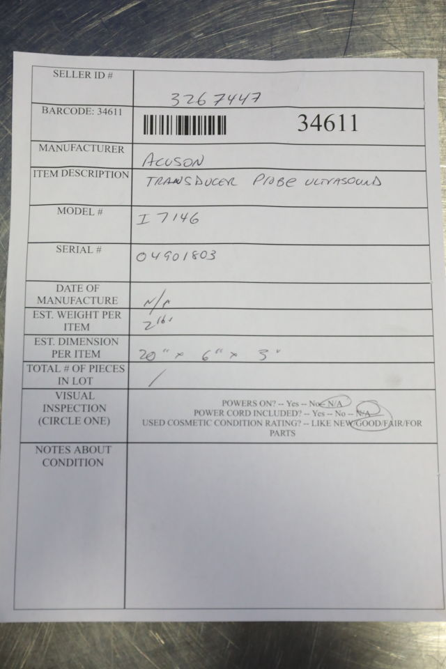 ACUSON I7146 Ultrasound Transducer