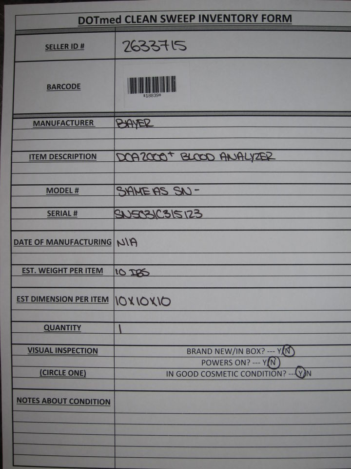 BAYER DCA 2000+ Blood Analyzer