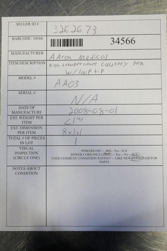 AARON MEDICAL AA03 High Temperature Cautery Pen w/ Looptip
