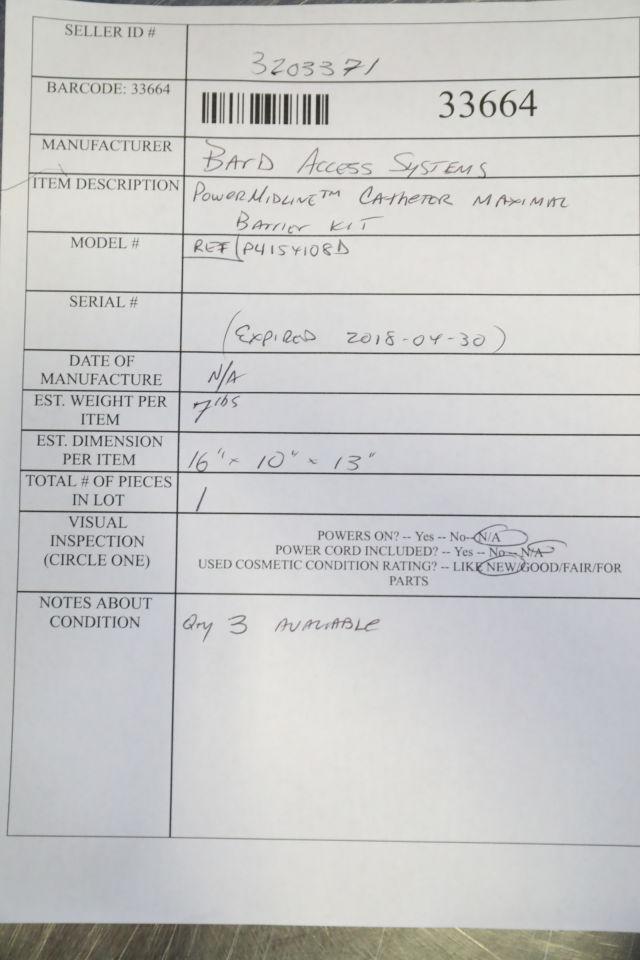 BARD P4154108D Catheter Maximal Barrier Kit