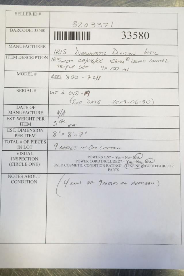 IRIS DIAGNOSTIC 800-7211 Urine Control Triple Set