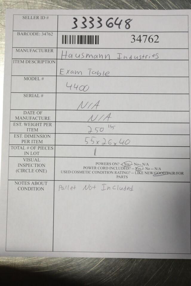 HAUSMANN INDUSTRIES 4400 Exam Table