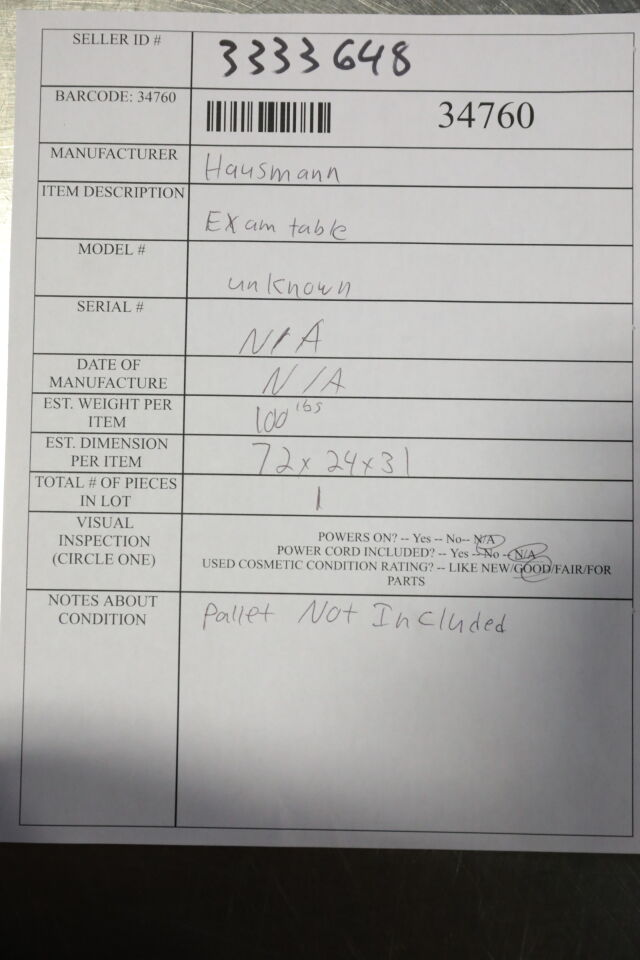HAUSMANN INDUSTRIES  Exam Table