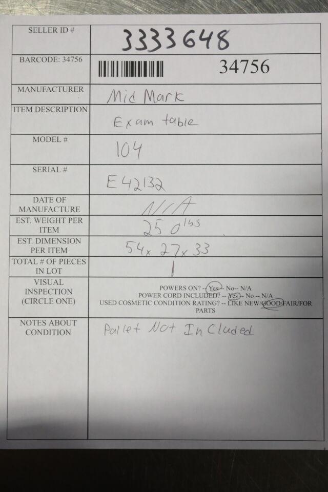 MIDMARK 104 Exam Table